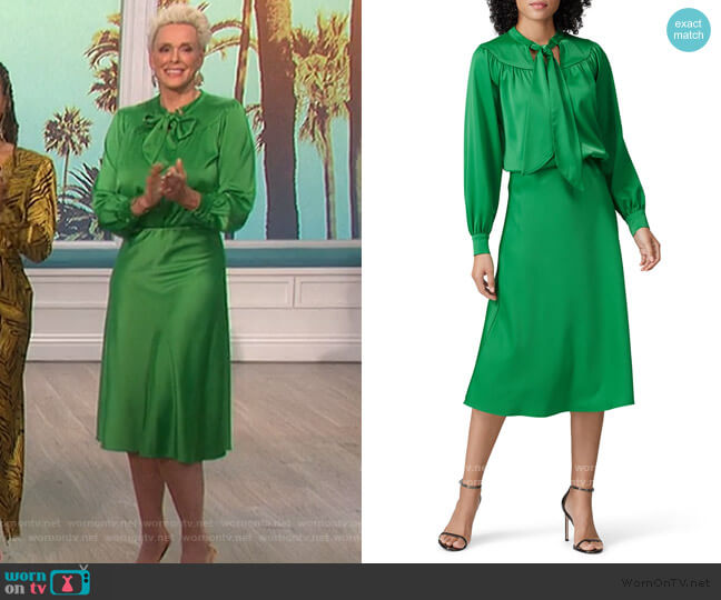 Green Tie Neck Blouse and Midi Skirt by Sweet Baby Jamie worn by Brigitte Nielsen on The Talk