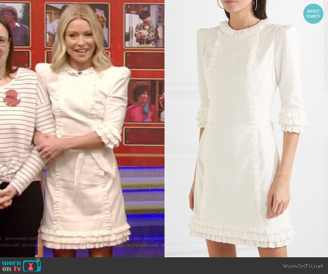 Mini Festival Ruffle-Trimmed Cotton-Corduroy Dress by The Vampire's Wife worn by Kelly Ripa  on Live with Kelly & Ryan