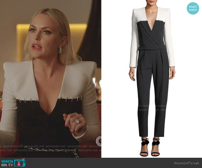 Colorblock Staple-Trim Tuxedo Jumpsuit by Mugler worn by Alexis Carrington (Elaine Hendrix) on Dynasty