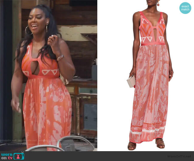 Cutout Crochet-Knit Maxi Dress by Talitha worn by Kenya Moore  on The Real Housewives of Atlanta