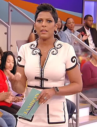 Tamron's white crystal trim embellished dress on Tamron Hall Show