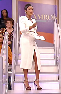Tamron's white tweed midi dress on Tamron Hall Show