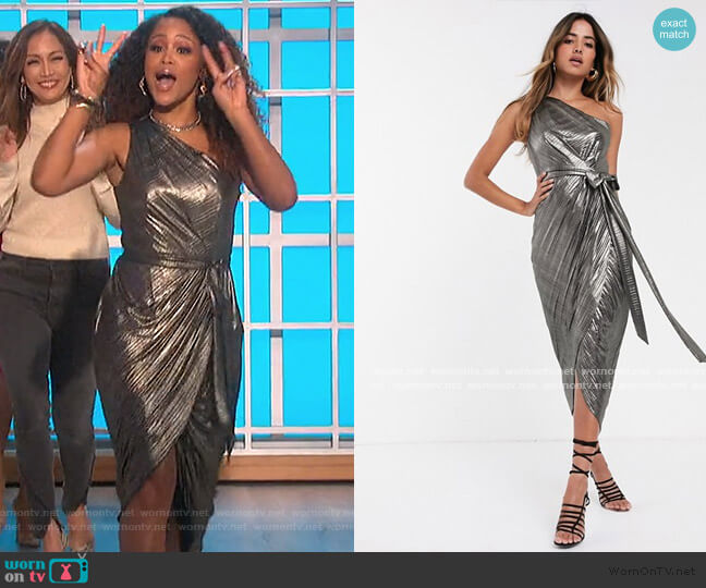 Gabria One Shoulder Metallic Dress by Ted Baker worn by Eve  on The Talk