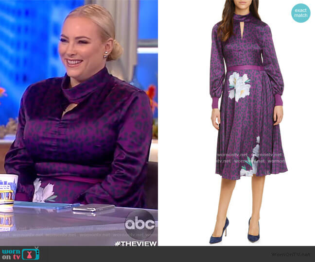 Jhenni Wilderness Mix Print Long Sleeve Dress by Ted Baker worn by Meghan McCain  on The View