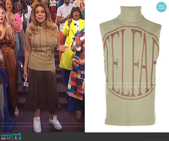 Logo Print Halterneck Top by Telfar worn by Wendy Williams  on The Wendy Williams Show