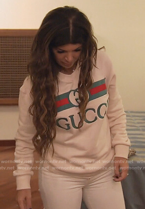 Teresa's white Gucci sweatshirt on The Real Housewives of New Jersey