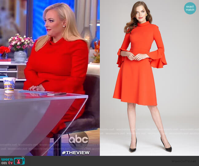 Long Ruffle Sleeve Mock Neck Crepe Dress by Teri Jon by Rickie Freeman worn by Meghan McCain  on The View