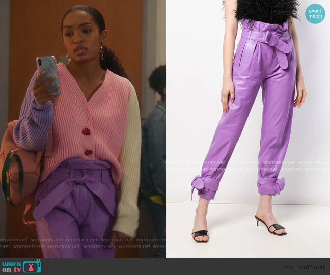 Cropped Paperbag Trousers by The Attico worn by Zoey Johnson (Yara Shahidi) on Grown-ish