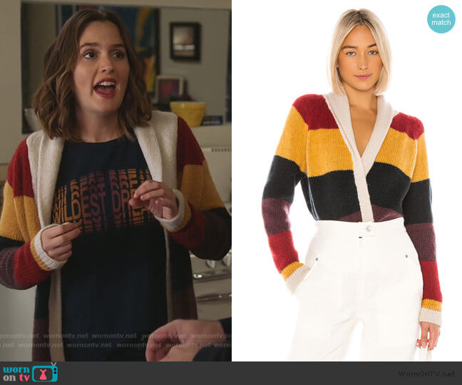The Stripe Lodge Cardigan by The Great worn by Angie (Leighton Meester) on Single Parents