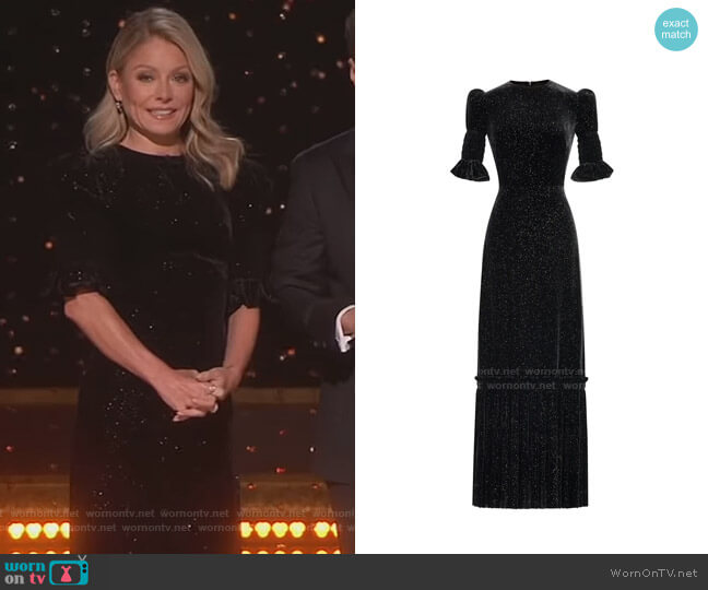 The Sparkle Velvet Night Flight Dress by The Vampire's Wife worn by Kelly Ripa  on Live with Kelly & Ryan