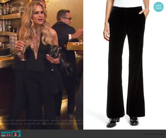 Caroleena Flare Leg Velvet Pants by Theory worn by Jackie Goldschneider  on The Real Housewives of New Jersey