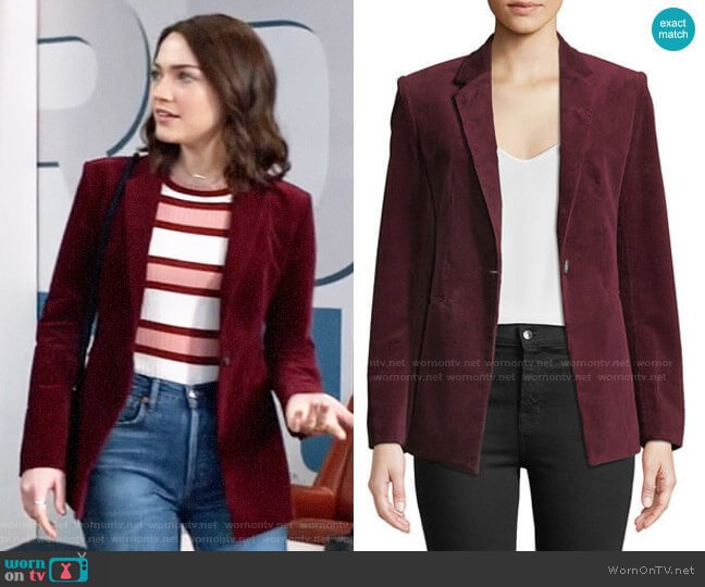 theory Power One-Button Modern Corduroy Jacket worn by Cara Bloom (Violett Beane) on God Friended Me