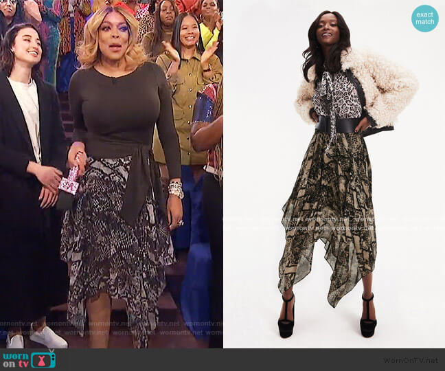 Zendaya Snake Print Skirt by Tommy Hilfiger worn by Wendy Williams  on The Wendy Williams Show
