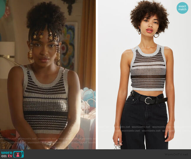 Silver Knitted Metallic Tank Top by Topshop worn by Zoey Johnson (Yara Shahidi) on Grown-ish