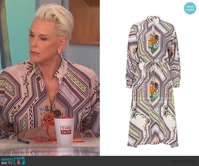 Ivory Homage Printed Dress jby Tory Burch worn by Bridgette Nielsen on The Talk
