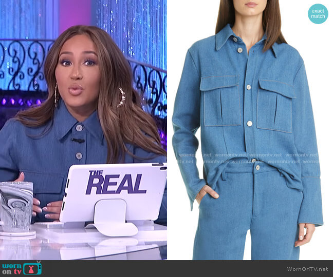 Luna Denim Shirt Jacket by Trave worn by Adrienne Houghton  on The Real