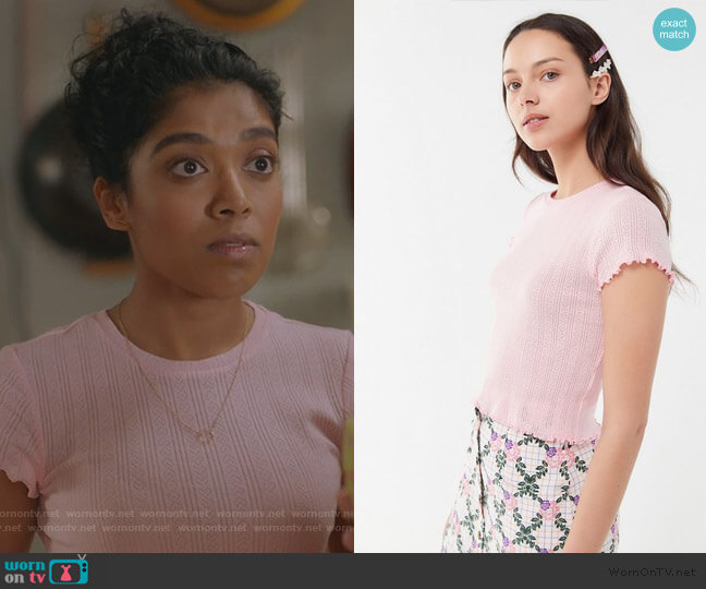 Pointelle Textured Lettuce-Edge Baby Tee by Urban Outfitters worn by gabriella sundar singh on Kims Convenience