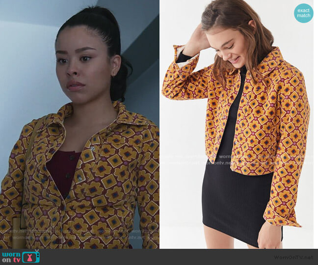 Printed Corduroy Cropped Jacket by Urban Outfitters worn by Mariana Foster (Cierra Ramirez) on Good Trouble