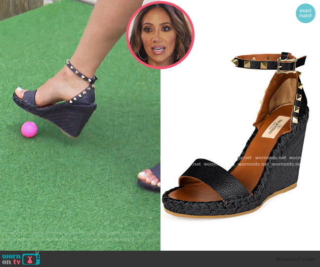 Rockstud Ankle-Wrap Espadrille Wedge by Valentino worn by Melissa Gorga  on The Real Housewives of New Jersey