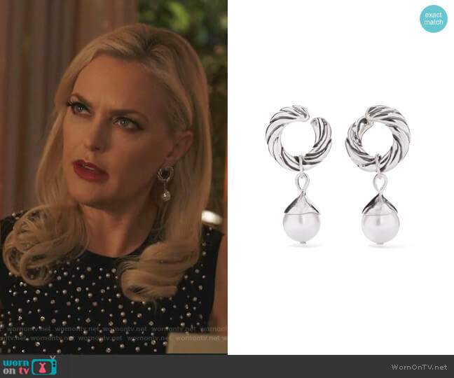 Velasquez Silver Faux Pearl Hoop Earrings by Sophie Buhai worn by Alexis Carrington (Elaine Hendrix) on Dynasty