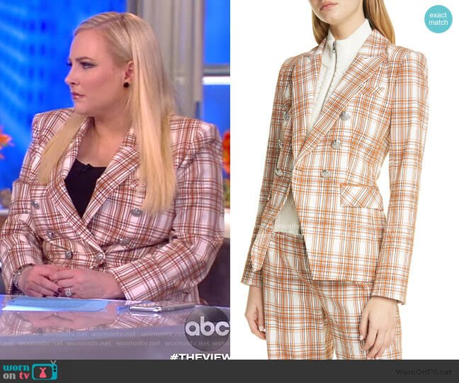 Miller Plaid Dickey Jacket by Veronica Beard worn by Meghan McCain  on The View