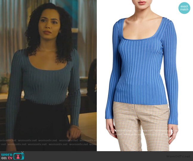 Clara Scoop-Neck Sweater Veronica Beard worn by Mel Vera (Melonie Diaz) on Charmed