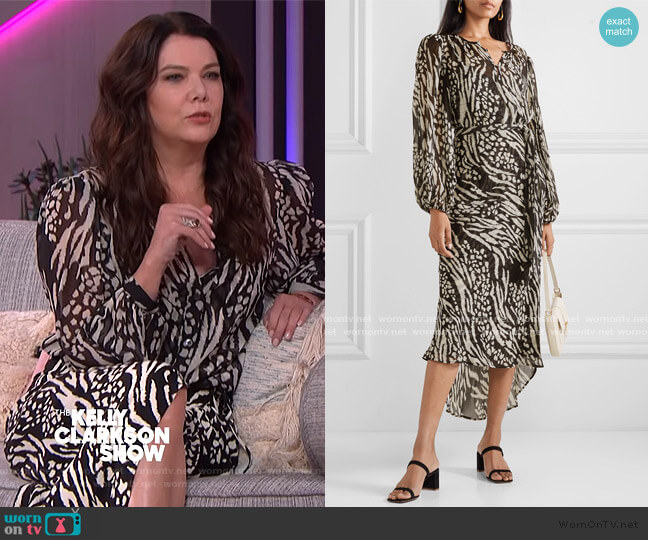 Mavis Stripe & Spot Print Long Sleeve Silk Dress by Veronica Beard worn by Lauren Graham on The Kelly Clarkson Show