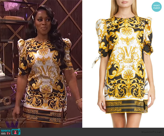 Versace V Barocco Print Tie Sleeve Silk Shift Minidress by Versace worn by Remy Ma on The Wendy Williams Show worn by Wendy Williams  on The Wendy Williams Show