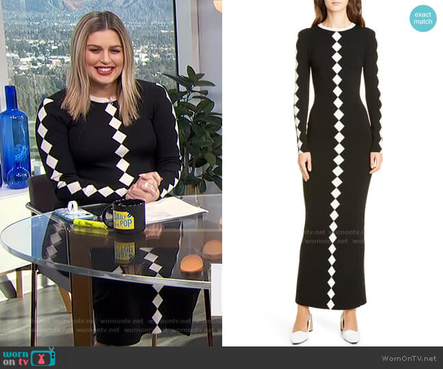 Diamond Pattern Long Sleeve Wool Maxi Dress by Victor Glemaud worn by Carissa Loethen Culiner  on E! News