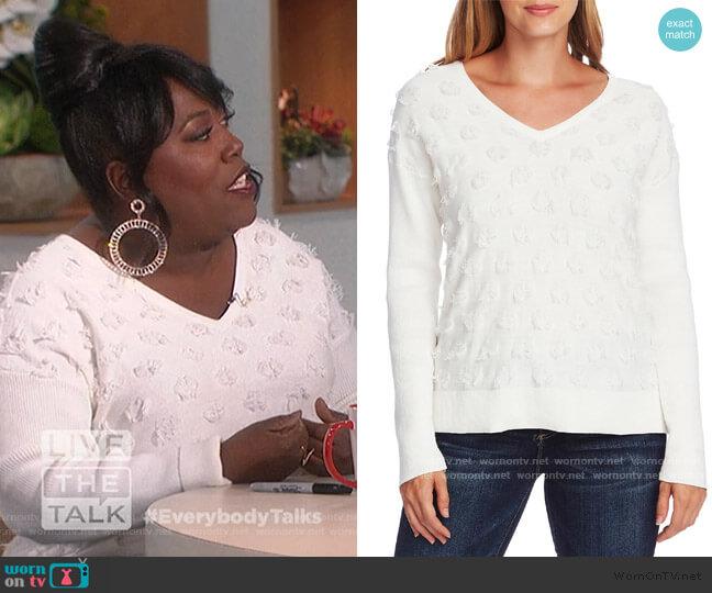 Floating Fringe Dot V-Neck Sweater by Vince Camuto worn by Sheryl Underwood  on The Talk