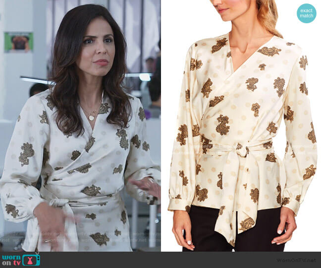 White Paisley Print Blouse by Vince Camuto worn by Azita Ghanizada on Good Trouble