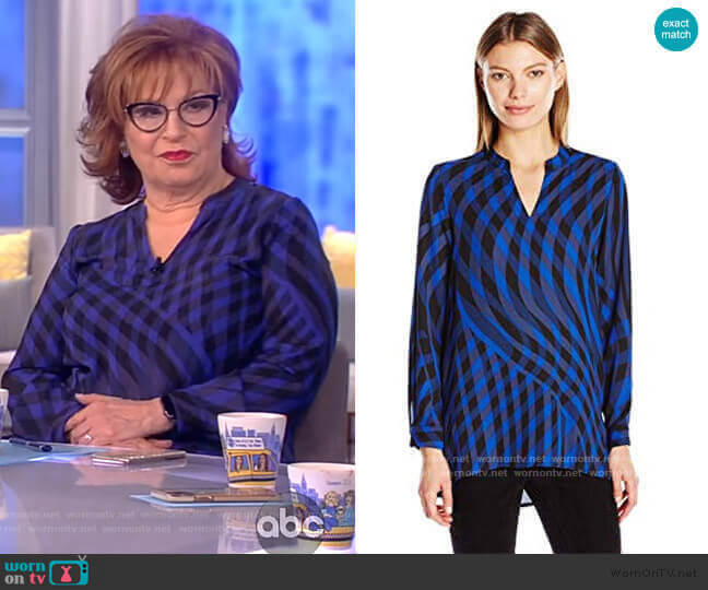 Sleeve Swept Check Blouse by Vince Camuto worn by Joy Behar  on The View