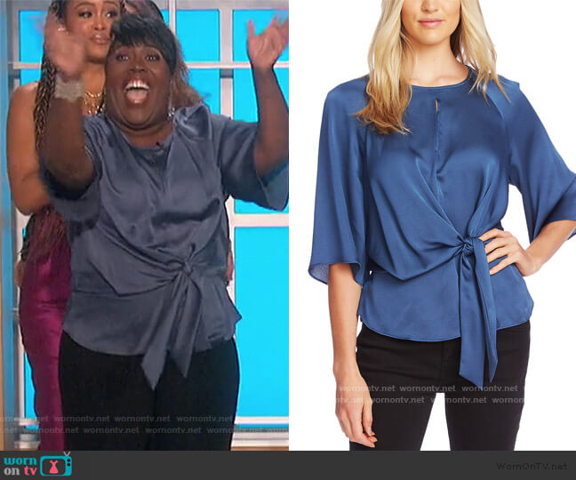 Tie-Front Keyhole Top by Vince Camuto worn by Sheryl Underwood  on The Talk