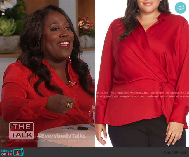 Twist Front Satin Top by Vince Camuto worn by Sheryl Underwood  on The Talk