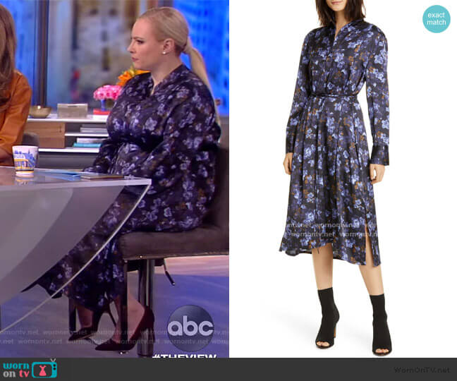 Plumeria Blooms Hammered Satin Dress by Vince worn by Meghan McCain  on The View