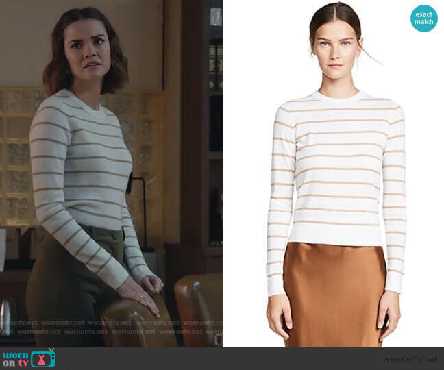 Striped Cashmere Sweater by Vince worn by Callie Foster (Maia Mitchell) on Good Trouble