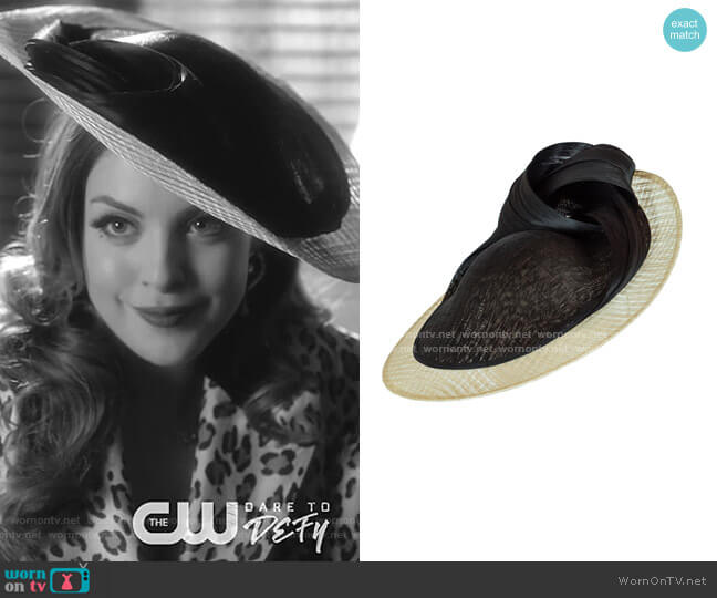 Anything Goes Two-Tone Knotted Disc Hat by Vivien Sheriff worn by Fallon Carrington (Elizabeth Gillies) on Dynasty