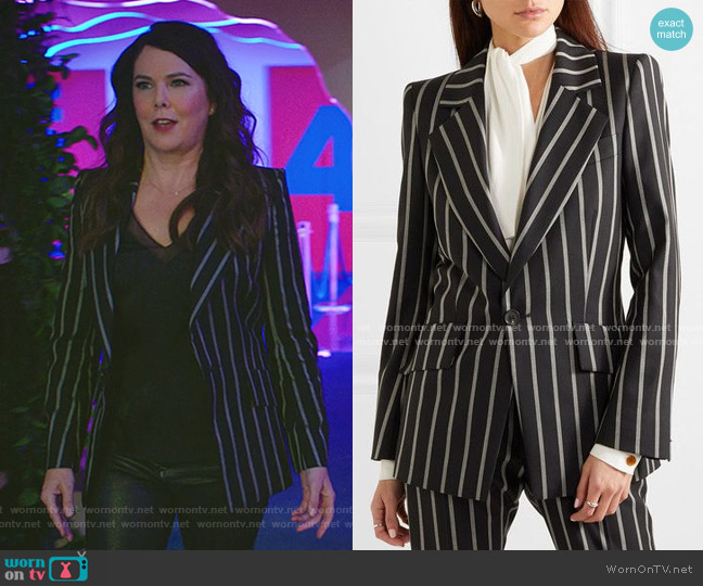 Lou Lou Striped Blazer by Vivienne Westwood worn by Joan (Lauren Graham) on Zoeys Extraordinary Playlist
