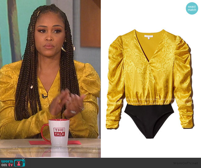 Sav Puff-Sleeve Bodysuit by Wayf worn by Eve  on The Talk