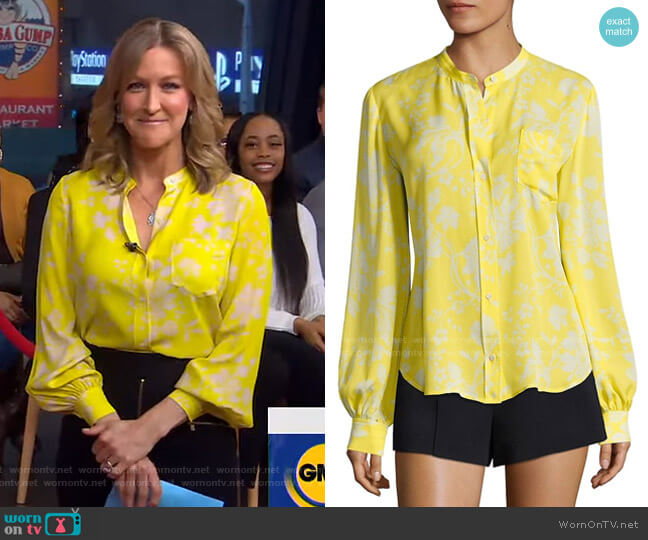 Walter Floral-Print Silk Blouse by A.L.C. worn by Lara Spencer  on Good Morning America