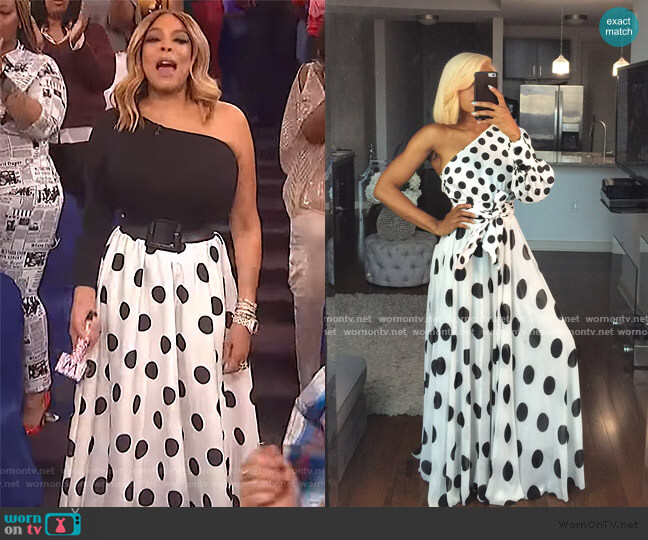 Polka dot skirt set by Oyemwen worn by Wendy Williams  on The Wendy Williams Show