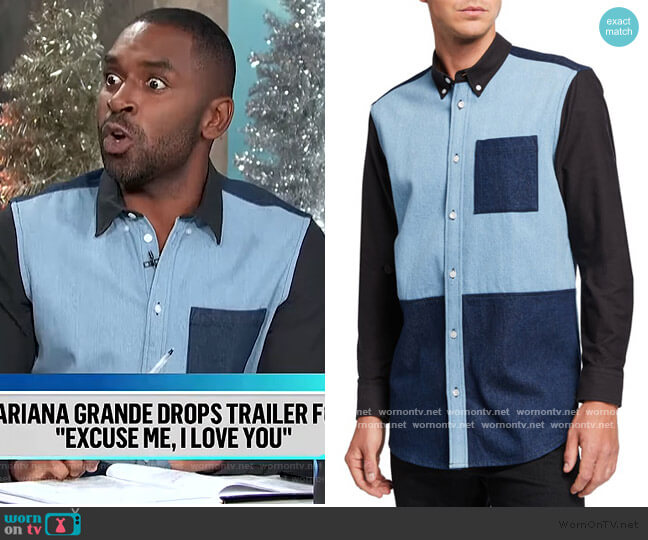 Olavi Blocked Sport Shirt by Wesc worn by Justin Sylvester  on E! News