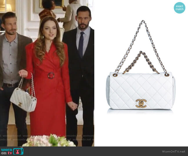 Quilted Leather Pondicherry Medium Flap Bag by Chanel worn by Fallon Carrington (Elizabeth Gillies) on Dynasty