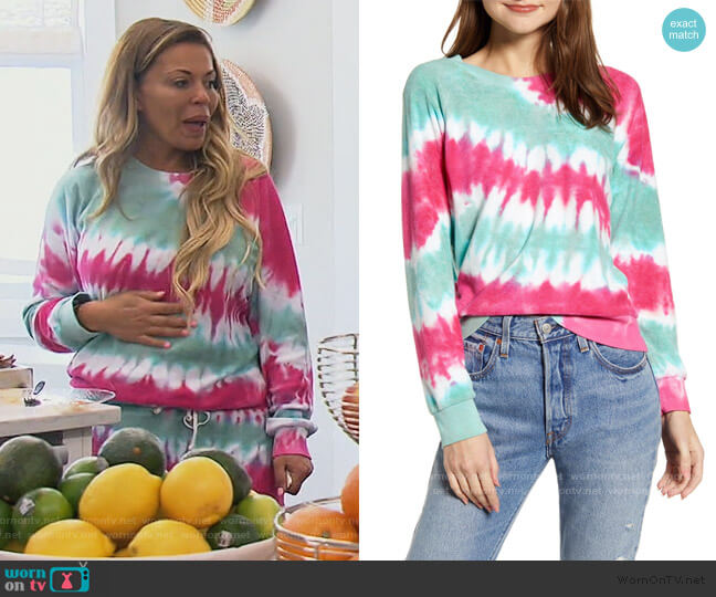 Fiona Tie Dye Sweatshirt by Wildfox worn by Dolores Catania  on The Real Housewives of New Jersey