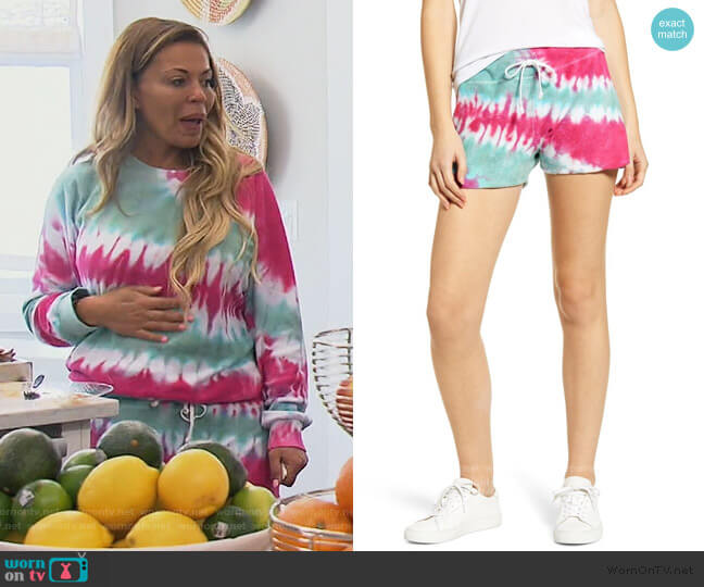 Splendid Kassidy Tie Dye Terry Shorts by Wildfox worn by Dolores Catania  on The Real Housewives of New Jersey