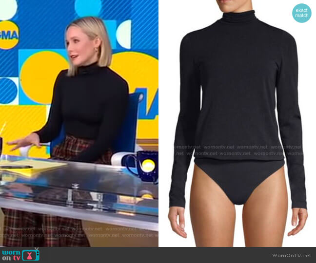 Turtleneck Thong Bodysuit by Wolford worn by Kristen Bell on GMA
