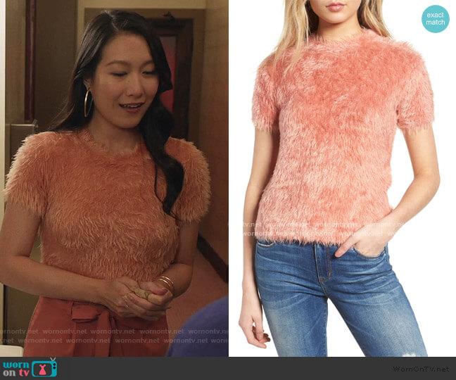 Eyelash Sweater by Woven Heart worn by Kara Wang on Good Trouble