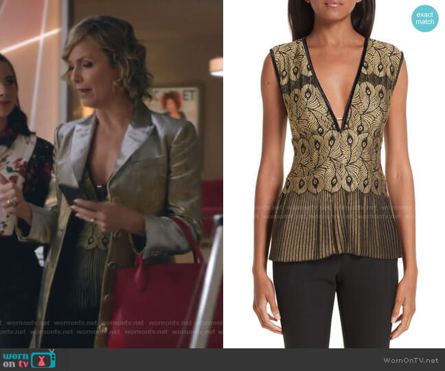 Pleated Lace Top by Yigal Azrouel worn by Jacqueline (Melora Hardin) on The Bold Type