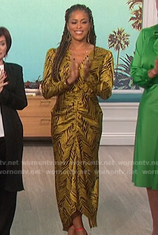 Eve's yellow tiger stripe dress on The Talk