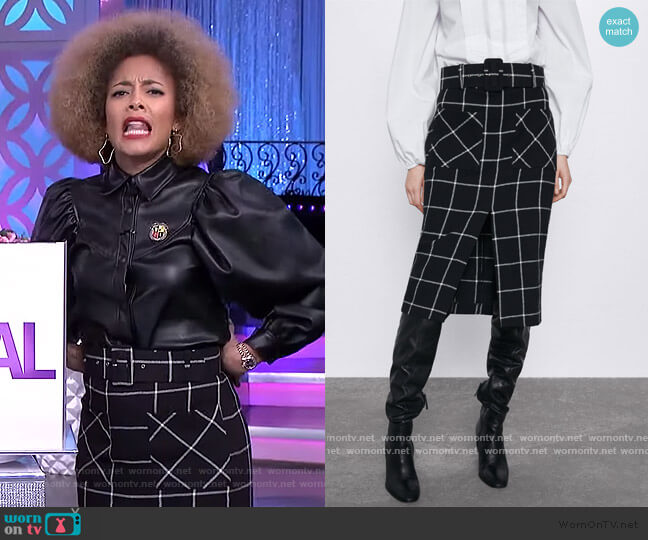 Plaid Pencil Skirt by Zara worn by Amanda Seales  on The Real